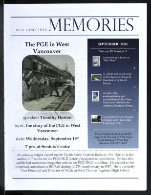 History-onics (West Vancouver, BC: West Vancouver Historical Society), September 2012