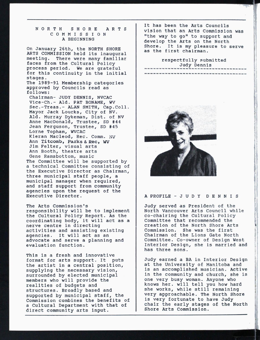 North Shore Arts News (North Vancouver, BC), February/March 1989