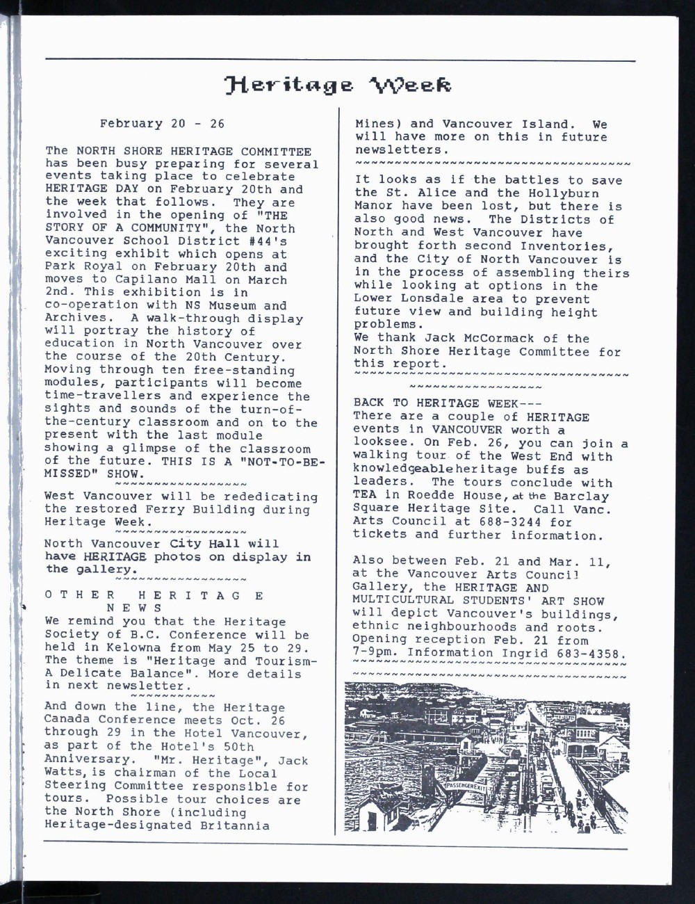 North Shore Arts News (North Vancouver, BC), February/March 1989