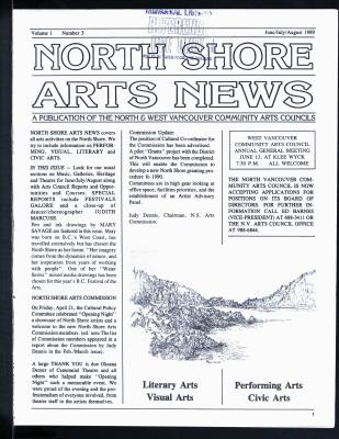 North Shore Arts News (North Vancouver, BC), June/July/August 1989