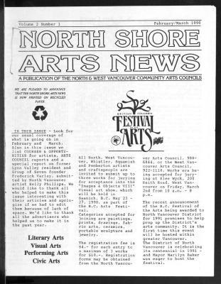 North Shore Arts News (North Vancouver, BC), February/March 1990