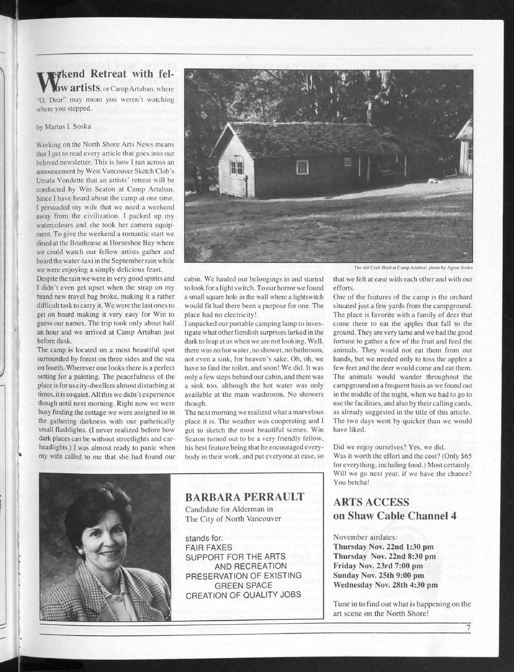 North Shore Arts News (North Vancouver, BC), November/December 1990/January 1991