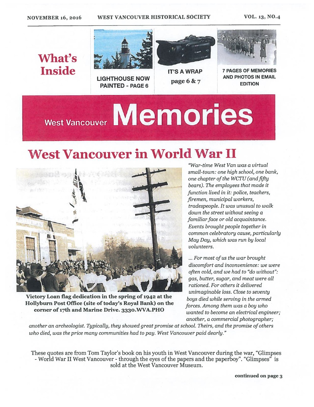 History-onics (West Vancouver, BC: West Vancouver Historical Society), November 16, 2016