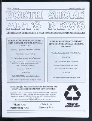 North Shore Arts News (North Vancouver, BC), September/October 1990