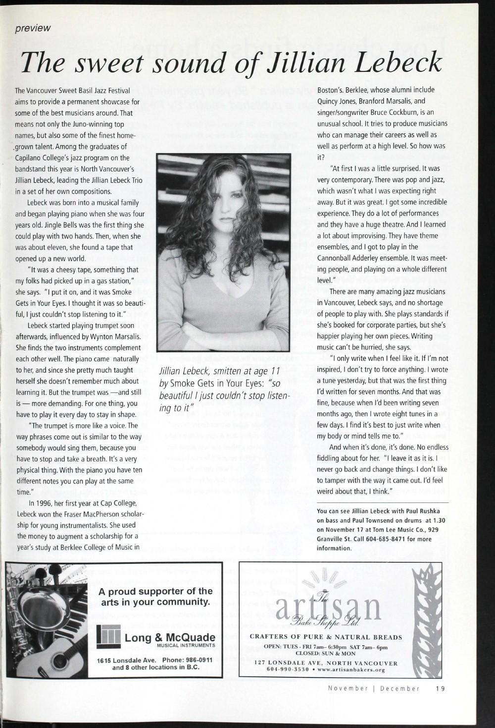 Arts Alive, November/December 2001