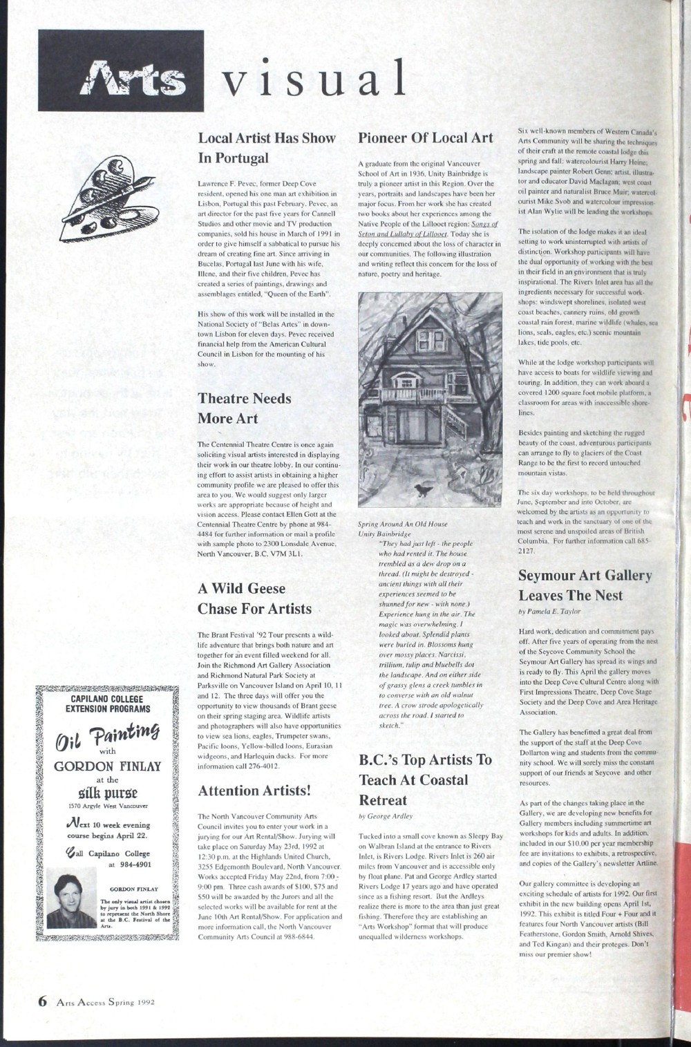 Arts Access; The Voice of the North Shore Arts Community., Spring 1992