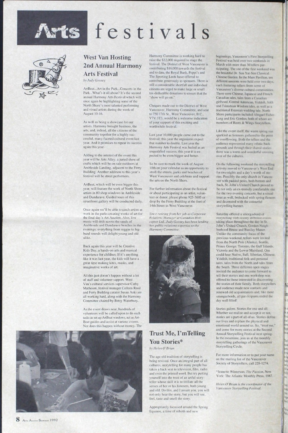 Arts Access; The Voice of the North Shore Arts Community., Summer 1992