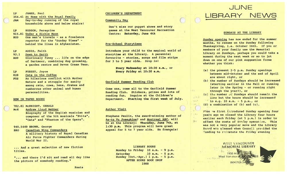 Library News, June 1988