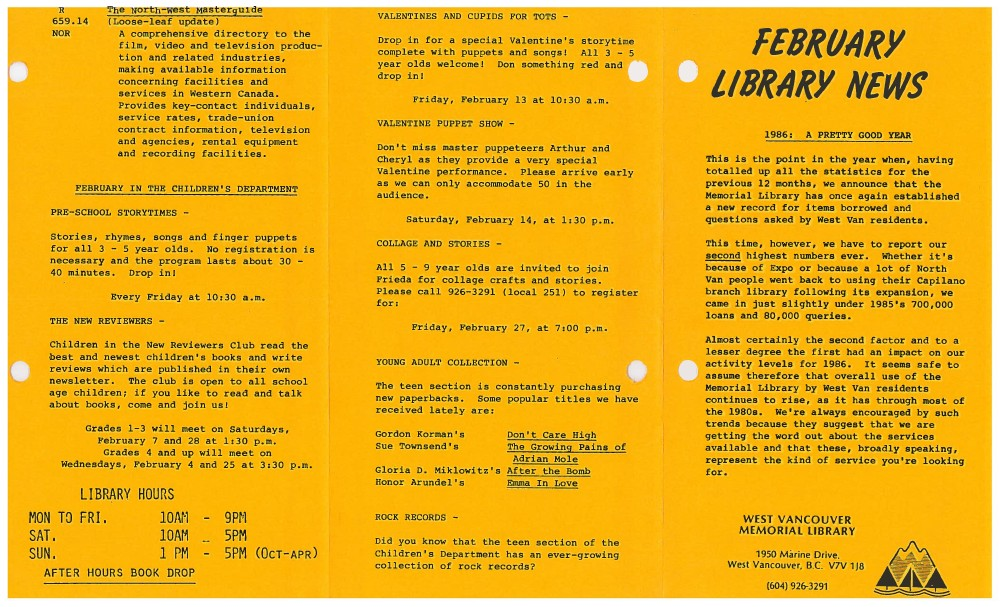 Library News, February 1987
