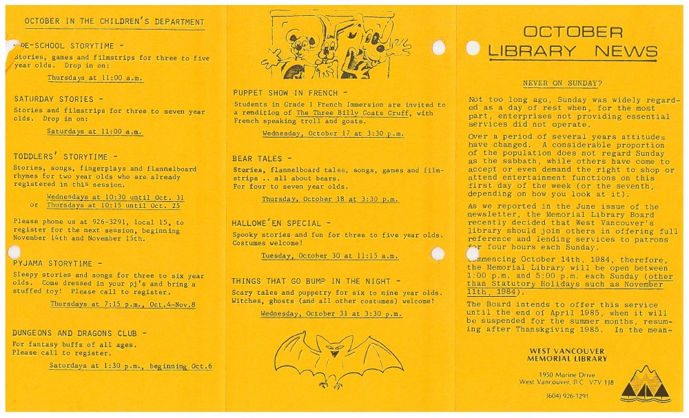 Library News, October 1984