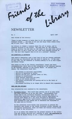 Friends of the Library Newsletter, April 1987