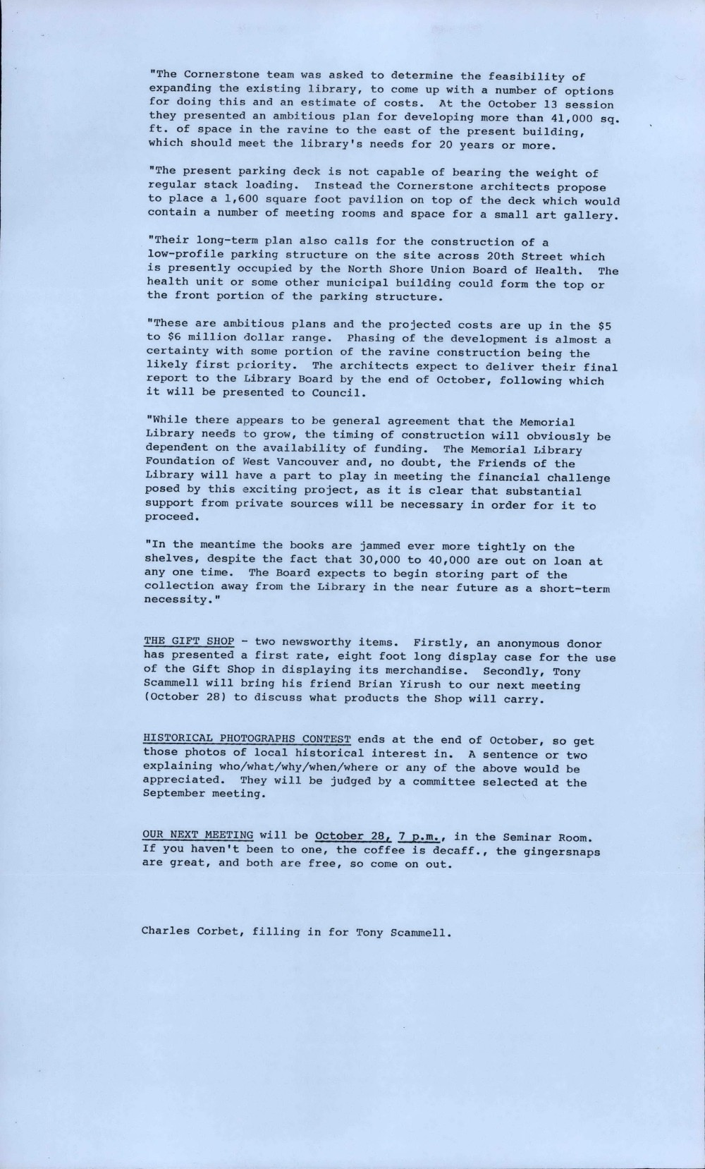 Friends of the Library Newsletter, October 1987