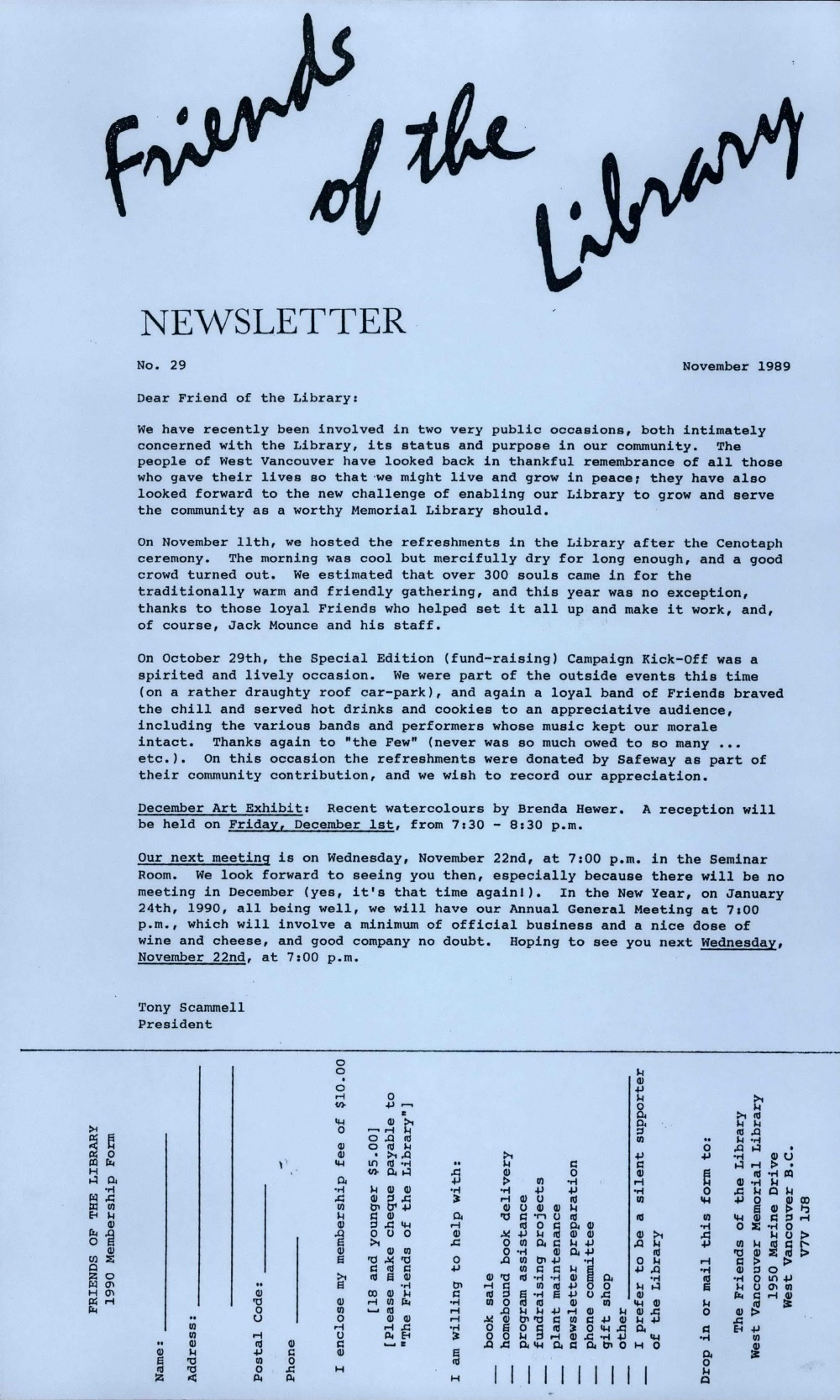 Friends of the Library Newsletter, November 1989