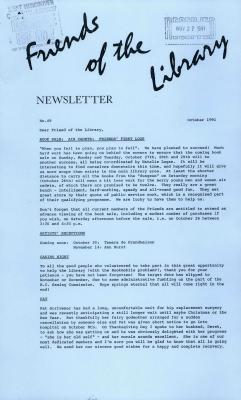 Friends of the Library Newsletter, October 1991