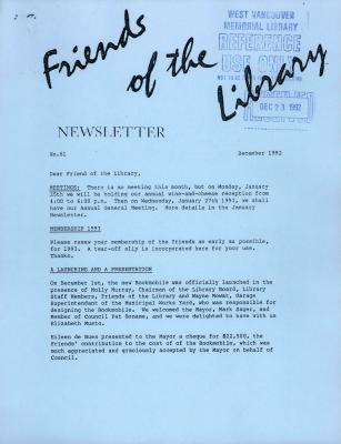 Friends of the Library Newsletter, December 1992