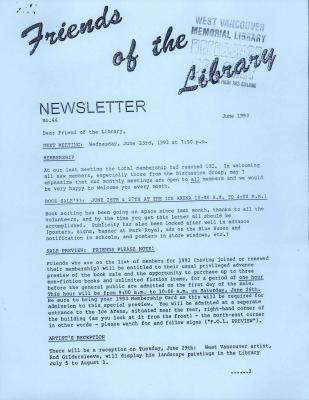Friends of the Library Newsletter, June 1993