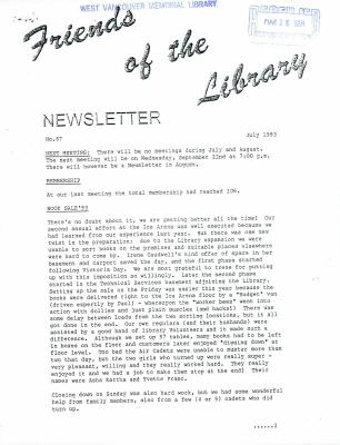 Friends of the Library Newsletter, July 1993