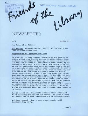 Friends of the Library Newsletter, October 1993