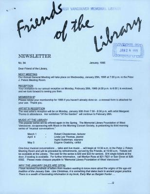 Friends of the Library Newsletter, January 1995