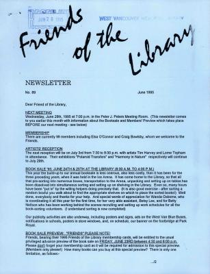 Friends of the Library Newsletter, June 1995