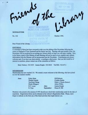 Friends of the Library Newsletter, October 1996