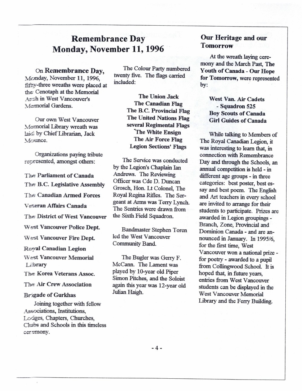 Friends of the Library Newsletter, November 1996