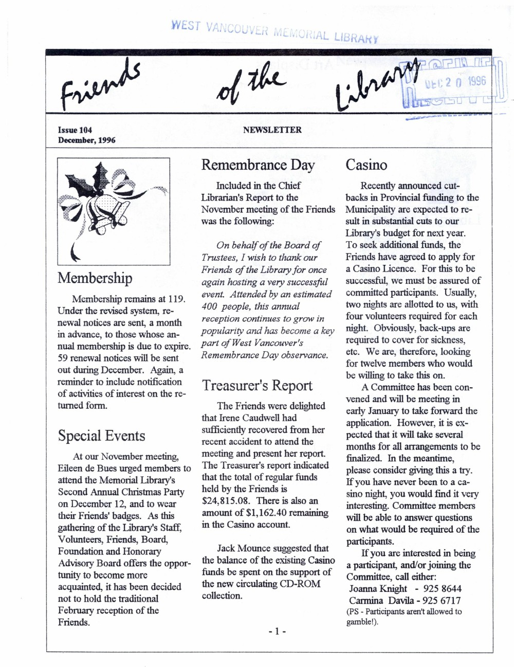 Friends of the Library Newsletter, December 1996