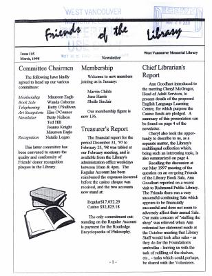 Friends of the Library Newsletter, March 1998