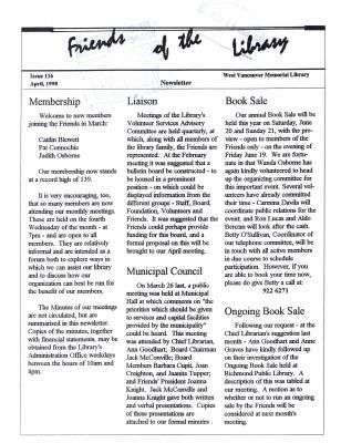 Friends of the Library Newsletter, April 1998