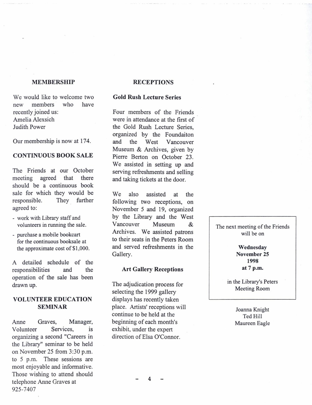 Friends of the Library Newsletter, November 1998