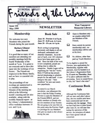 Friends of the Library Newsletter, May 1999