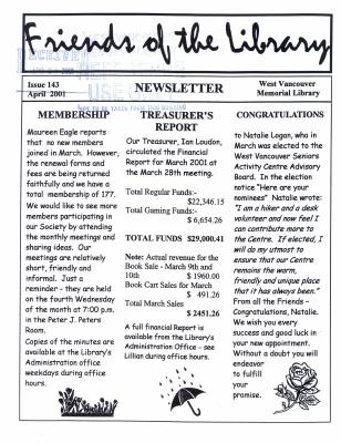 Friends of the Library Newsletter, April 2001