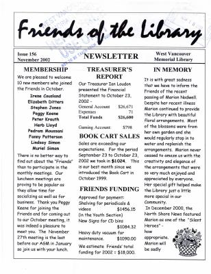 Friends of the Library Newsletter, November 2002