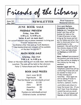 Friends of the Library Newsletter, 1 May 2003