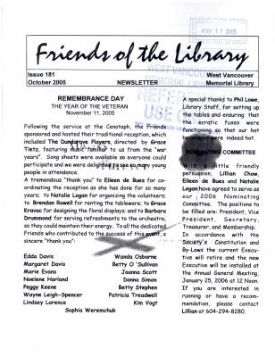 Friends of the Library Newsletter, October 2005