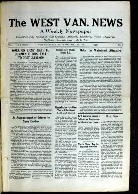 West Van. News (West Vancouver), 28 May 1926