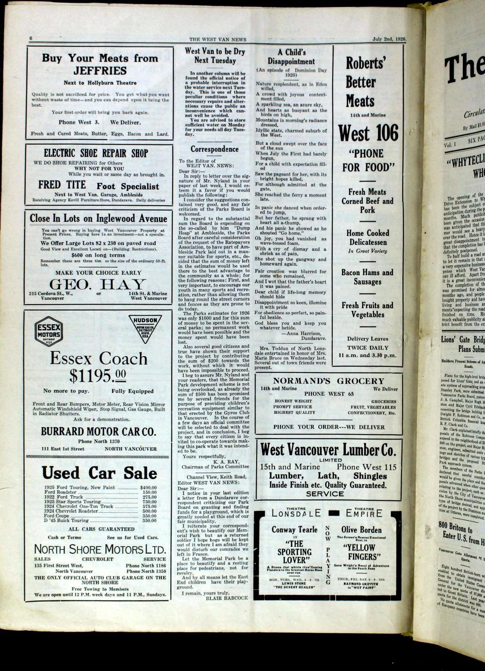 West Van. News (West Vancouver), 2 Jul 1926