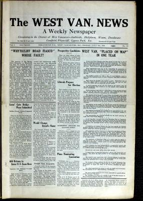 West Van. News (West Vancouver), 9 Jul 1926