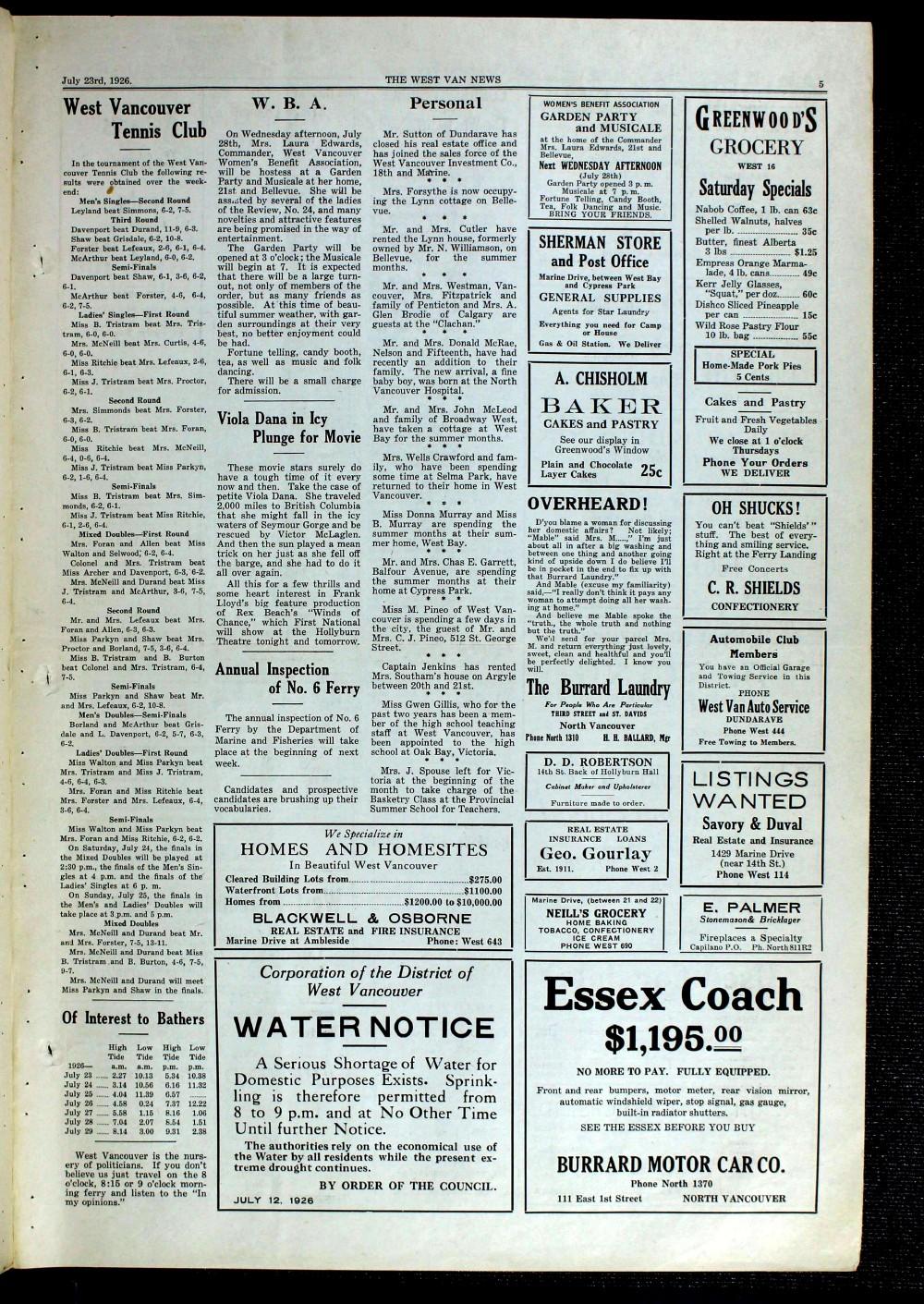 West Van. News (West Vancouver), 23 Jul 1926