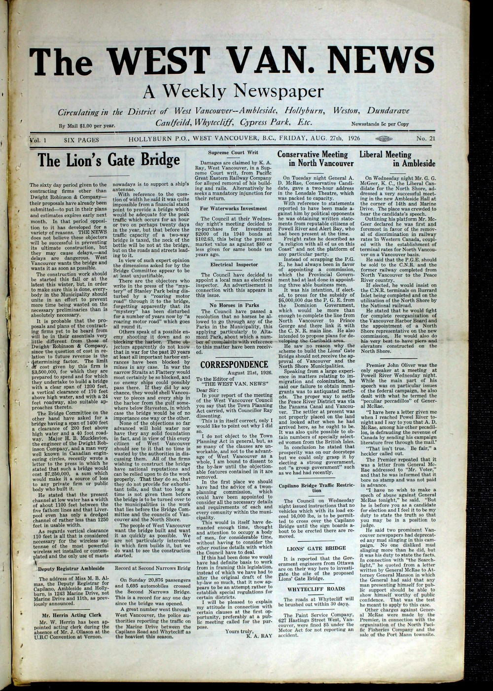 West Van. News (West Vancouver), 27 Aug 1926