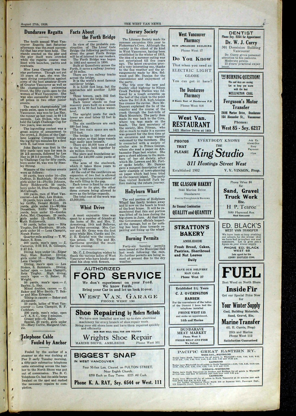 West Van. News (West Vancouver), 27 Aug 1926