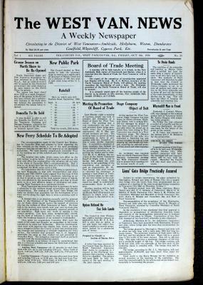 West Van. News (West Vancouver), 8 Oct 1926