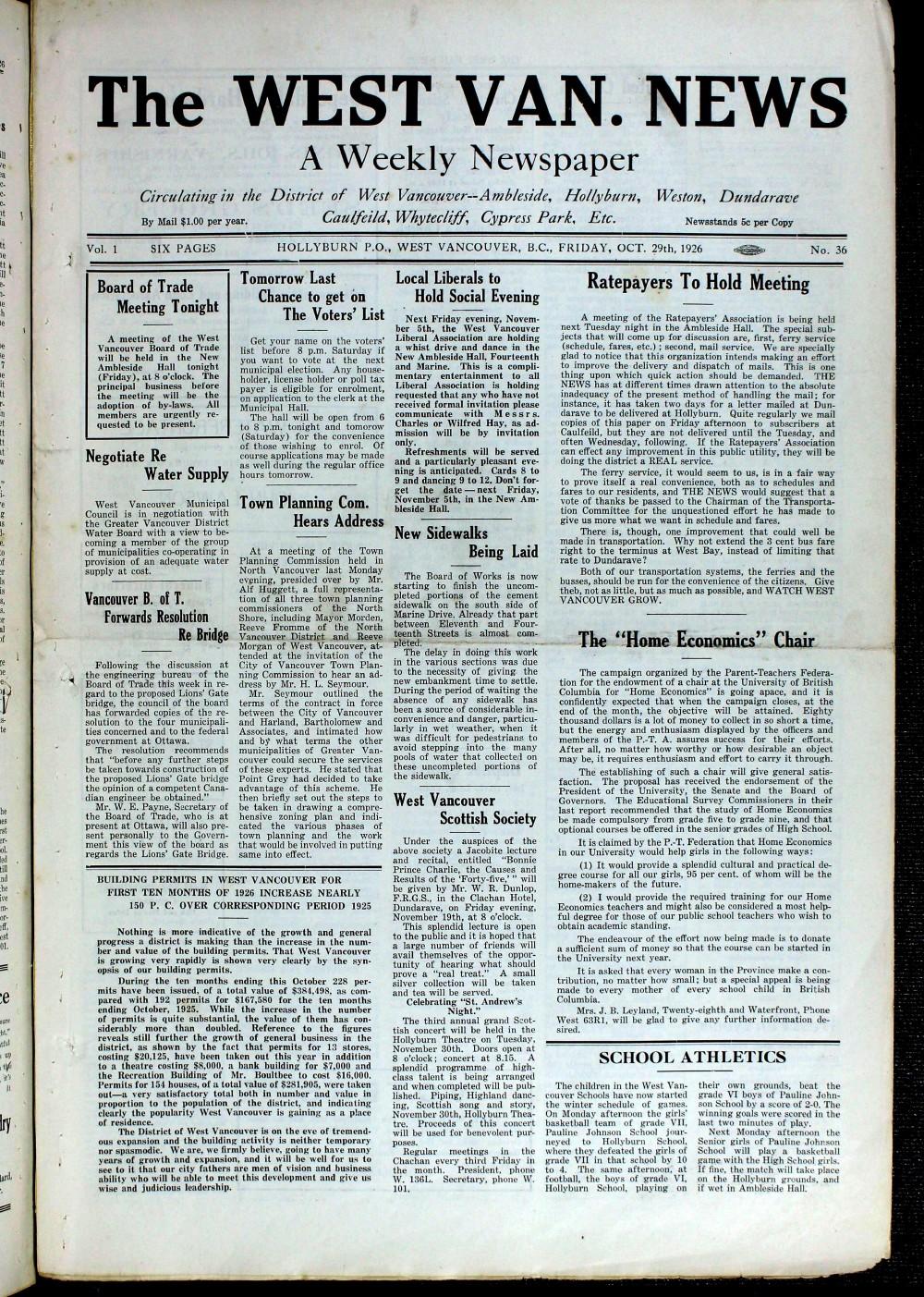West Van. News (West Vancouver), 29 Oct 1926