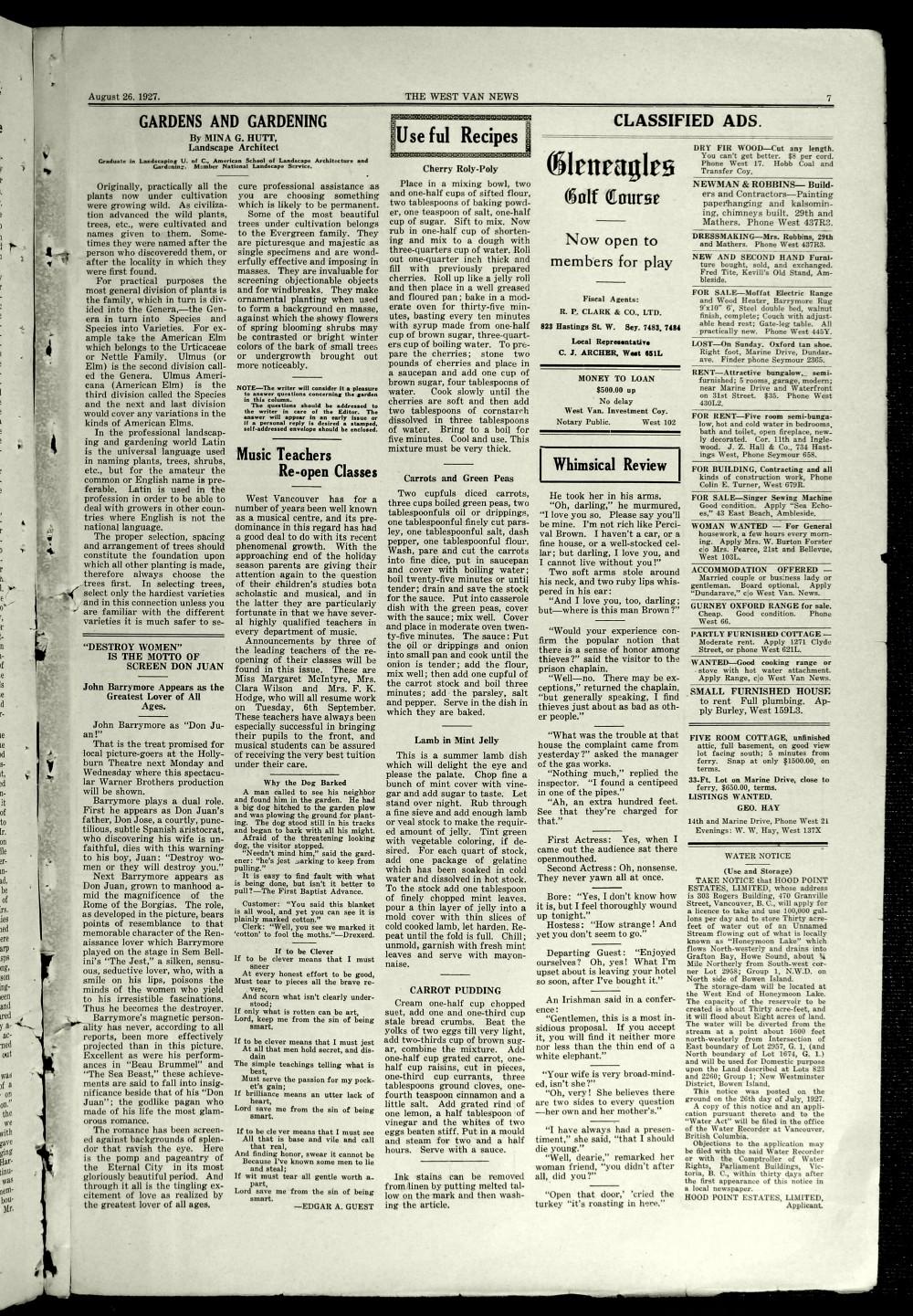 West Van. News (West Vancouver), 26 Aug 1927