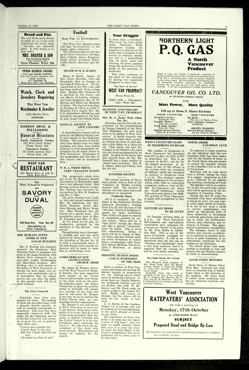 West Van. News (West Vancouver), 14 Oct 1927