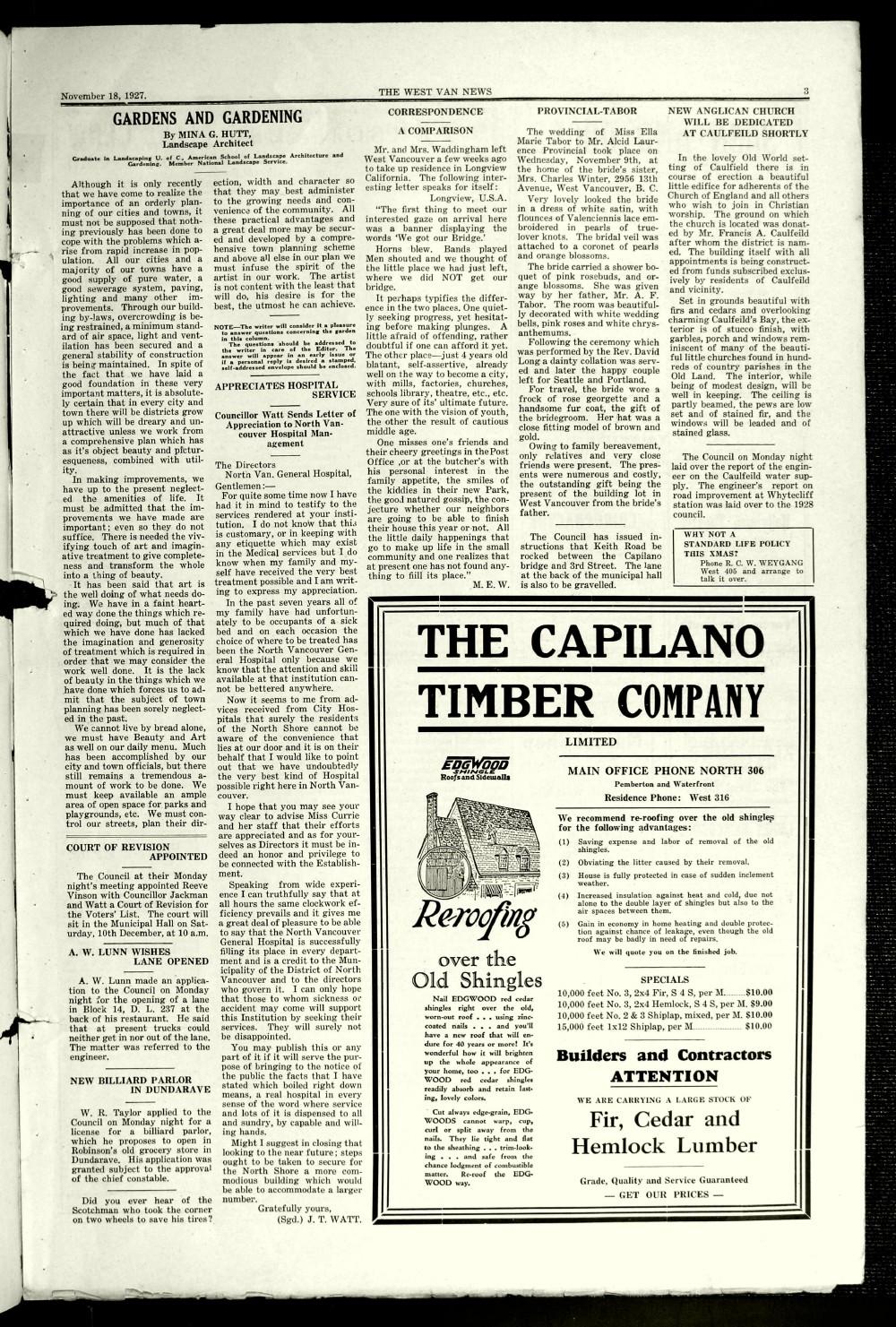 West Van. News (West Vancouver), 18 Nov 1927
