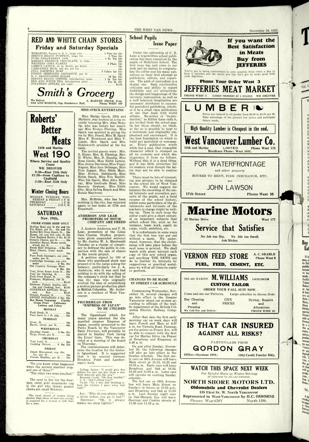 West Van. News (West Vancouver), 18 Nov 1927