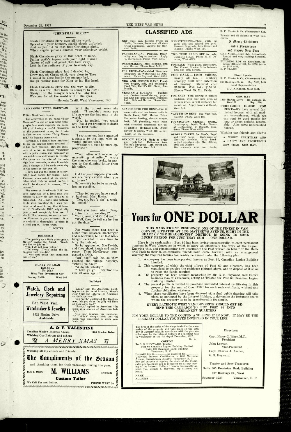 West Van. News (West Vancouver), 23 Dec 1927