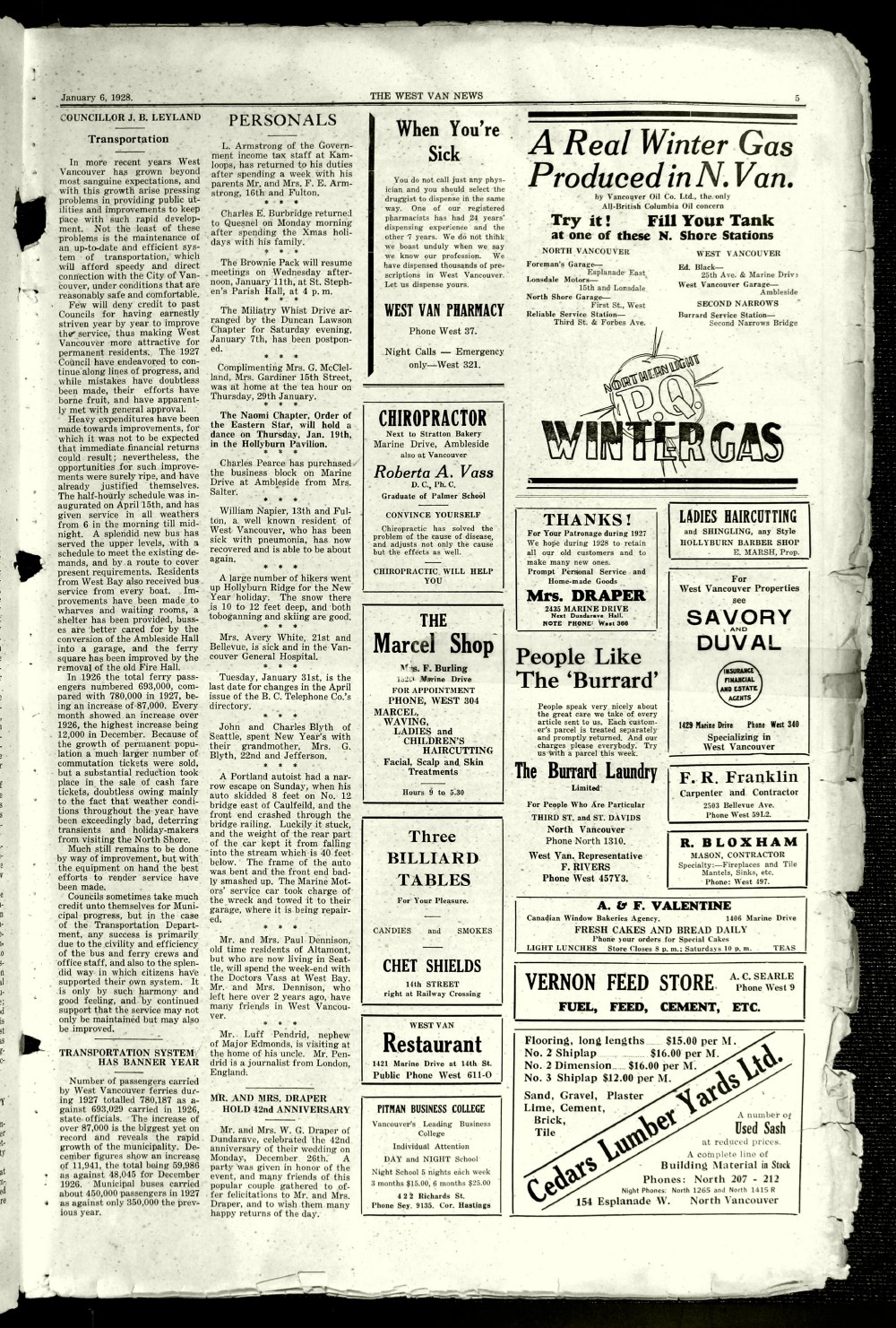 West Van. News (West Vancouver), 6 Jan 1928