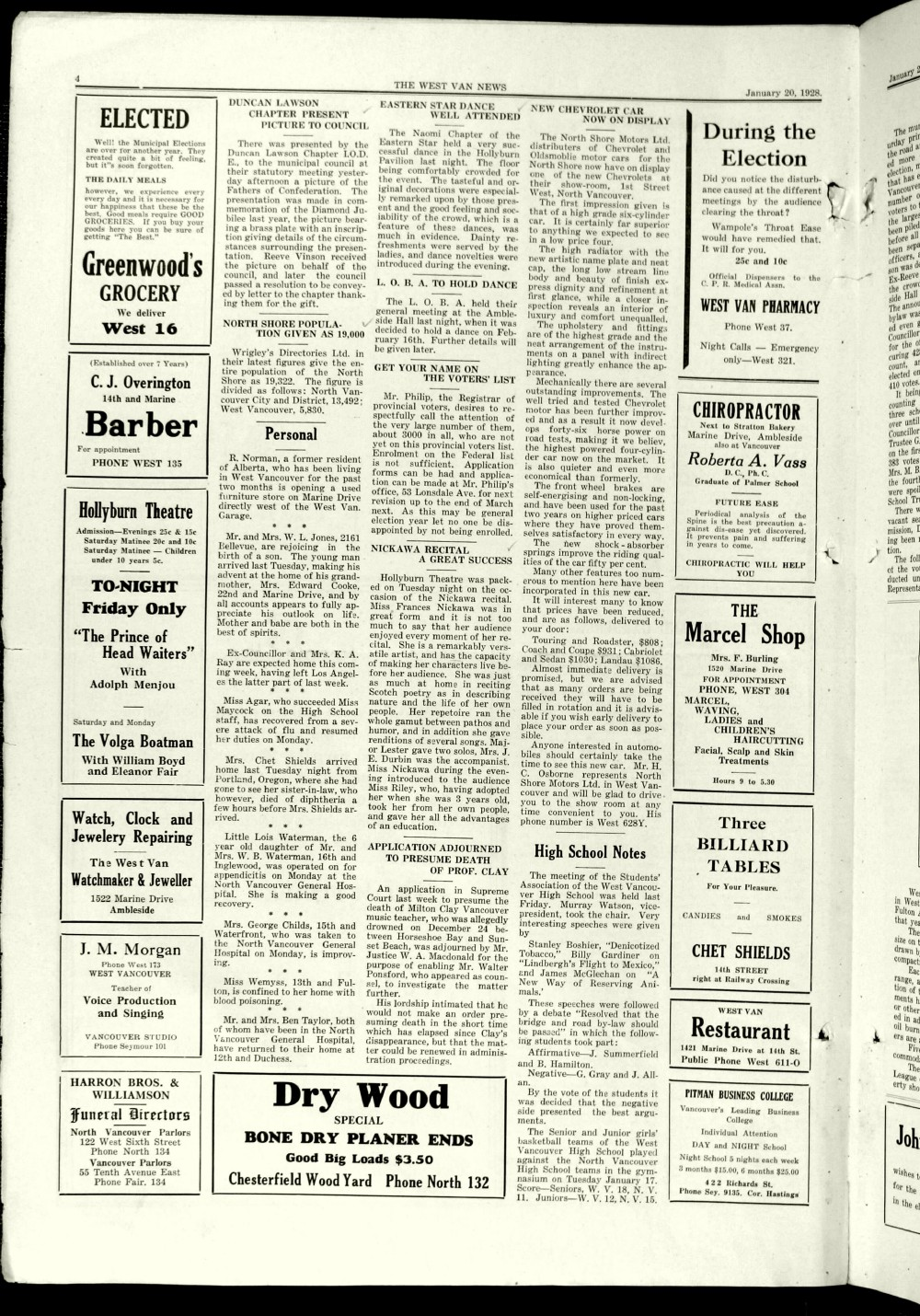 West Van. News (West Vancouver), 20 Jan 1928